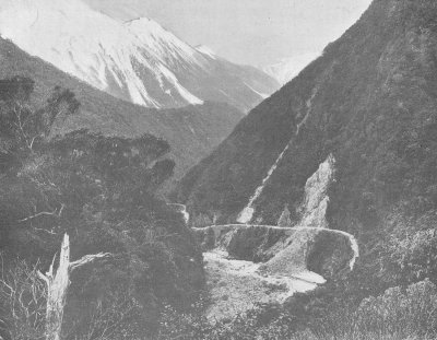 Original Otira Gorge highway in 1890s