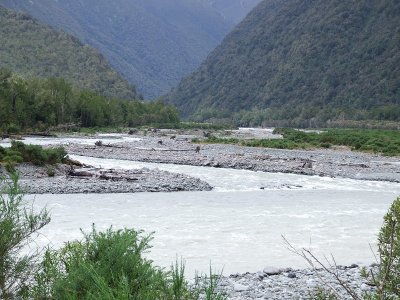 Deception and Otira Rivers in flood